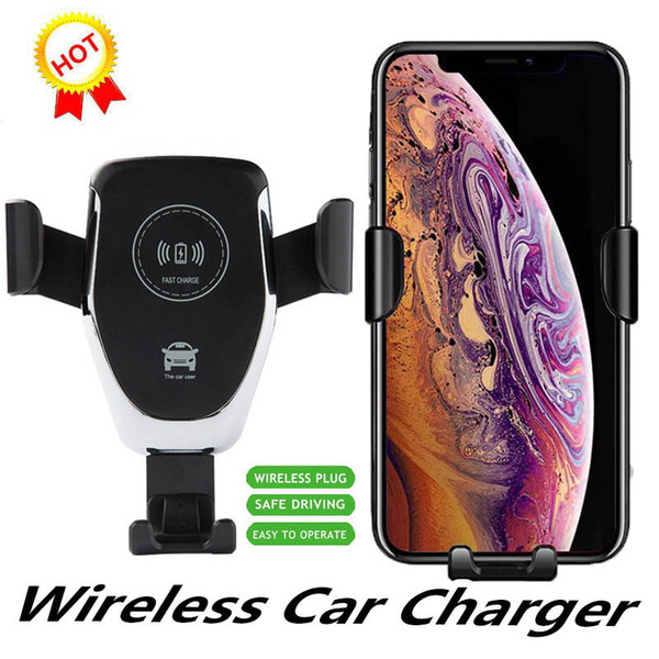 1 stücke qi schwerkraft drahtlose ladegerät für iphone x xr xs max 8 10 watt schnelle drahtlose auto ladegerät ladeschale für samsung s9 auto halter ladegerät