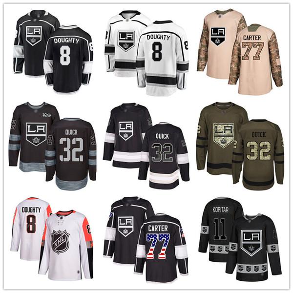 top popular Custom Los Angeles Kings Jersey 99 Wayne Gretzky 8 Drew Doughty 11 Anze Kopitar 32 Jonathan Quick 17 Ilya Kovalchuk 77 Jeff Carter USA Flag 2019