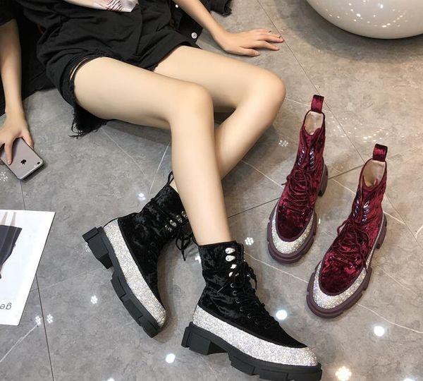 EUR Fashion Luxury Women Platform Genuine leather Suede Rhinestone Hight top Boots Designer Martin Boots Lace-Up
