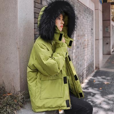 2019 winter new korean version fur hooded ladies cotton coat loose fur collar thick warm solid candy parka street jacket women