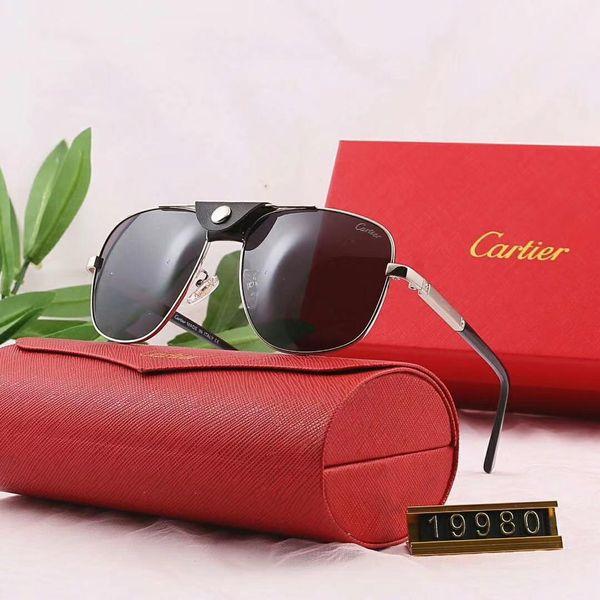 Gafas de sol de diseñador Gafas de sol de lujo Gafas de sol de estilo superior para hombres Marca de vidrio de verano UV400 con estuche y logotipo de marca 19980 Nuevo llega