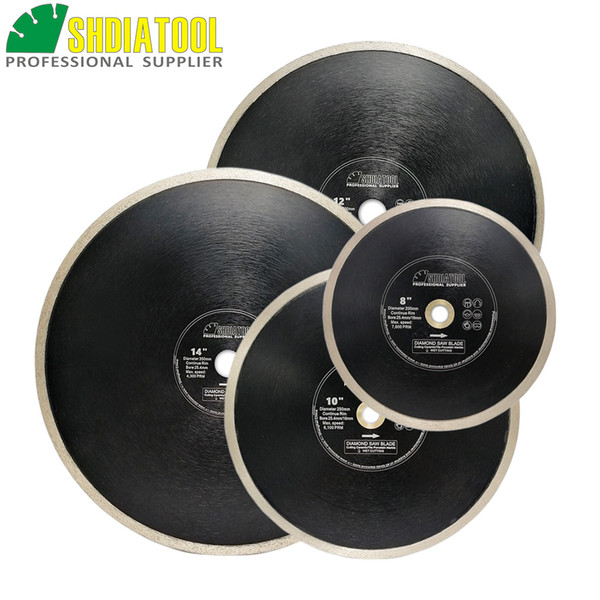 SHDIATOOL 2pcs Dia 8/10inch Hot-Pressed Continue Rim Diamond Saw Blades Cutting Disc bore 25.4mm for Porcelain Tile Ceramic Marble #50/70