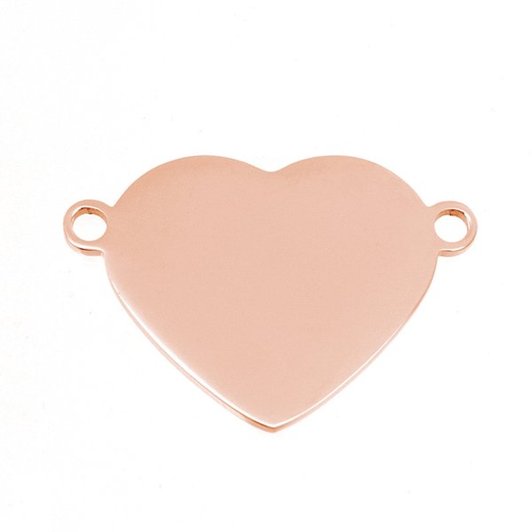 2 Loops Heart Blank Pendants Personalized Print Pendant Steel/Gold Color Mirror Polished Stainless Steel High Quality 50pcs
