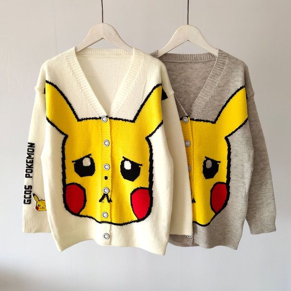 Cute Pikachu Print Womens Designer Cardigan Sweaters Casual Loose Panelled Single Breasted Womens Sweaters Females Clothing