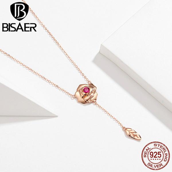 Bisaer 100% silber 925 rose gold blooming rose anhänger halskette elegante aussage engagement schmuck frauen liebe geschenk gan068