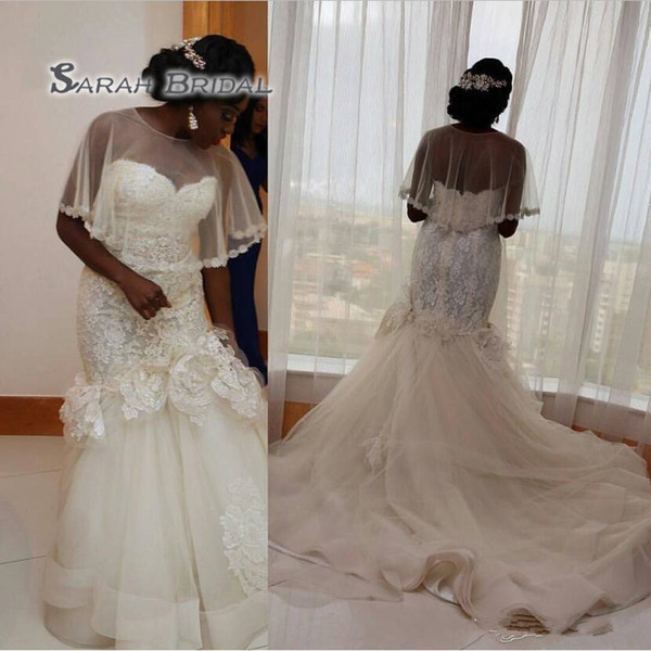 best selling 2019 Arabic Plus Size Wedding Dresses With Wraps Jackets Sweetheart Lace Appliques Tulle Mermaid Wedding Gowns Long Bridal Dress Vestidos