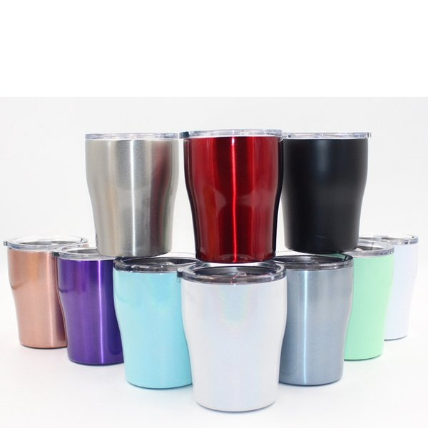 10OZ stainless steel curve tumbler double wall insulation vacuum water travel mugs rainbow color coffee mugs MMA2220