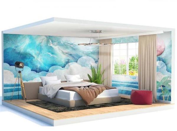 3d Digital Print Wallpaper Nordic Modern Cute Cloud Kids Room Full House Background Wall Decoration Wallpaper