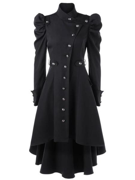 Giubbotto invernale donna Steampunk Gothic Cappotti manica lunga con cappello Cosplay Costume Cappotto nero medievale Corte principessa Outwear