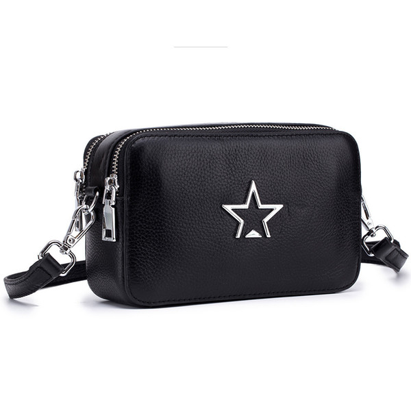 Charm2019 Doubles Women's Bag Zipper Oblique Satchel Genuine Leather Woman Double-deck Hand Mobile Phone Small Change Package