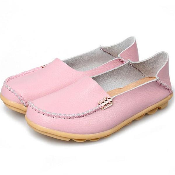 Büyük boy 35-44 kadın düz ayakkabı klasik tarzı deri rahat ayakkabılar giymek 16 renk katı dikiş sonbahar bayan ayakkabıları X117