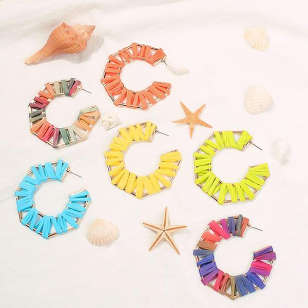 1 Pair Colorful Rattan Hoop Earrings Handmade Bohemian Statement Earrings Rainbow Geometric Dangle for Women Girls