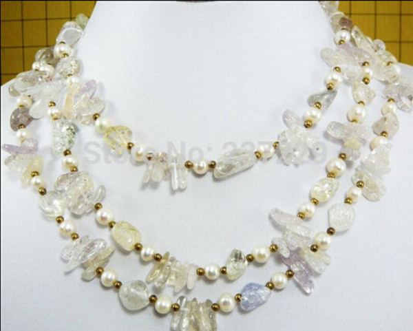 necklace Free shipping ++++HOT## Wholesale price FREE SHIPPING^^^^3 Rows Real White Pearl Crystal 18KGP Small Beads Necklace