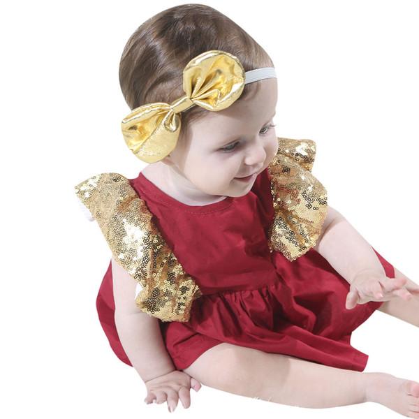 2019 nuovi 2 pz baby girl bowknot fasce + vestito set neonato vestito neonati e abbigliamento bambino per le ragazze di estate vestiti
