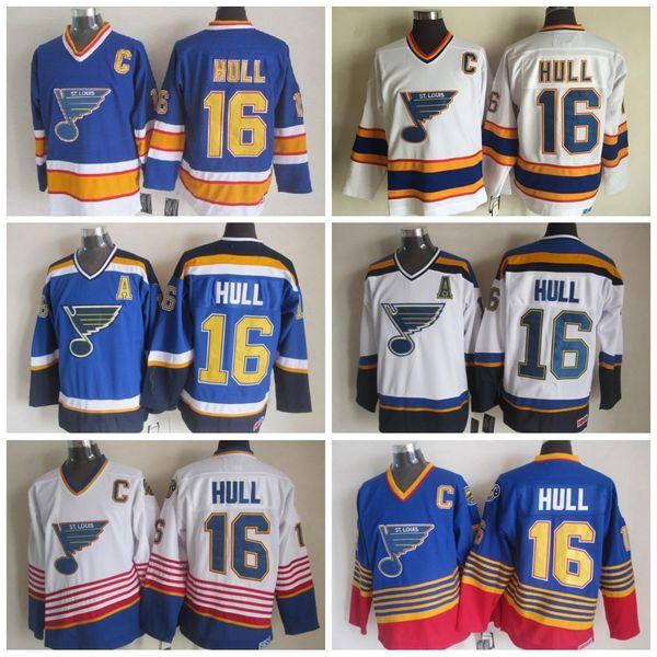 2019 St. Louis Blues Casacos De Hóquei No Casco 1995 CCM Vintage 16 Brett Hull Casacos De Costura Casuais Mens Hockey Jerseys C Patch