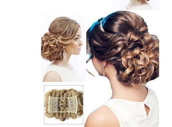 Mulheres Encaracolado Chignon Plástico Pente Extensão Do Cabelo Peruca Peruca Clip Em Grande Cabelo Bun Garras pin coroa tiara Acessórios de cabelo