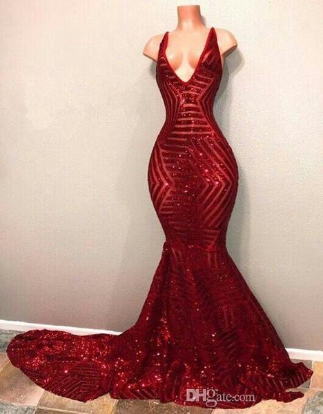 Sexy Sirena Red Paillettes Prom Dresses 2018 Personalizza scollo a V senza maniche lungo treno Abiti da sera Abiti da Fiesta
