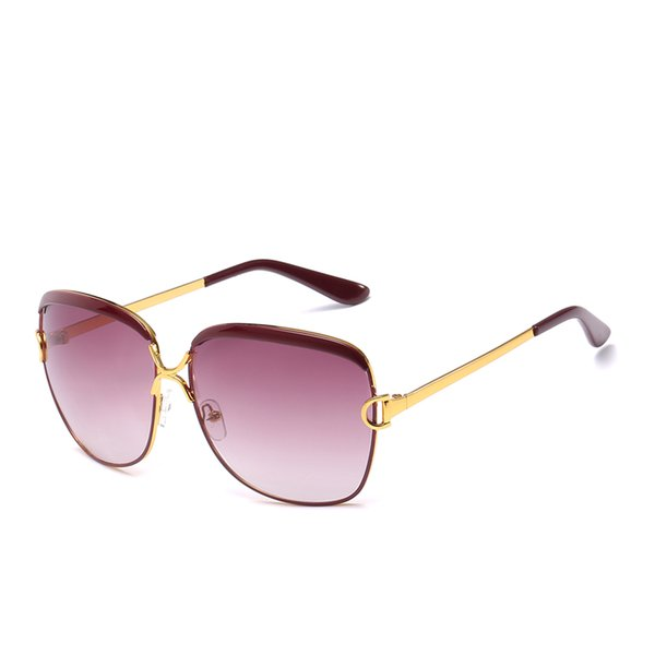 Top quality ladies brand sunglasses metal frame HD sunglasses Steampunk Goggle 6 colors with free case and edging free shipping high-end gif