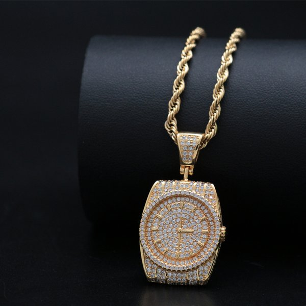 Hip hop watch shape pendant necklace Cubic zircon material Hip hop charm pendant necklace gold silver plated jewelry for rapper