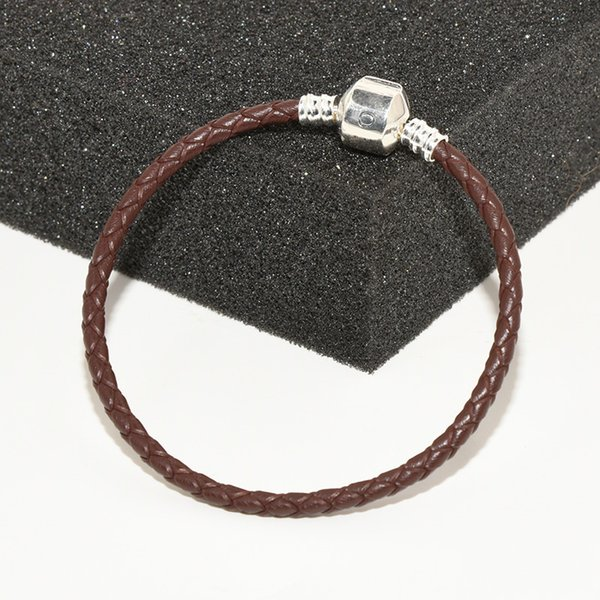 Women Mens Classic Fashion Brown Leather Hand Chain Bracelet Logo Original box for Pandora 925 Sterling Silver Charms Bracelet