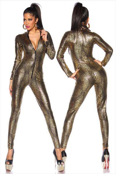 Macacão Macacão de Látex Catsuit Boate Bodysuit Fetiche Sexy Linegerie Uniformes de Jogo de Couro Preto Olhar Molhado Cobra