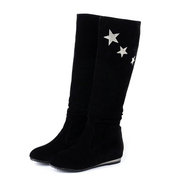 Size 34-40 Female Black Corlor Mid Calf Boots Lady Pleated Sequined Stars Boot Women Height Increase Shoes Woman Wedges Shoe