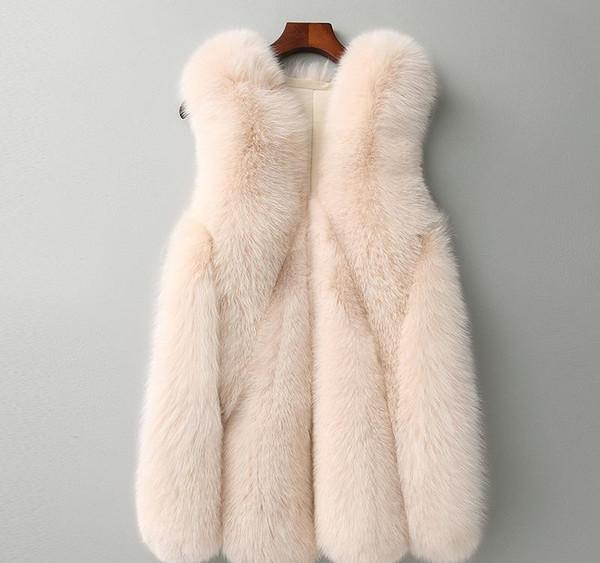 Basic Coat Women Fur Coat Real Rushed Long Single Breasted O-neck Solid Slim Fur 2018 Winter High Imitation Women