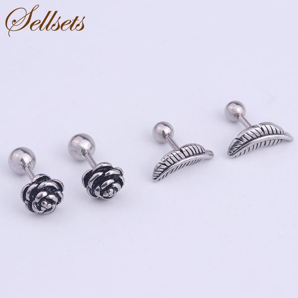 Acero inoxidable Sellsets individualidad Helix Tragus Piercing joyas de fundición Vintage Flor Rosa y los pendientes del cartílago del oído de la hoja
