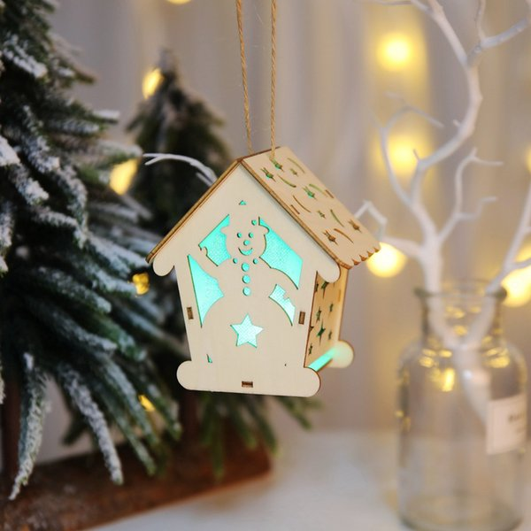 MUQGEW Wood House Ornaments for Christmas decor Luminous Wooden House Christmas Tree Ornament DIY chiristmas gift for kid#816y20
