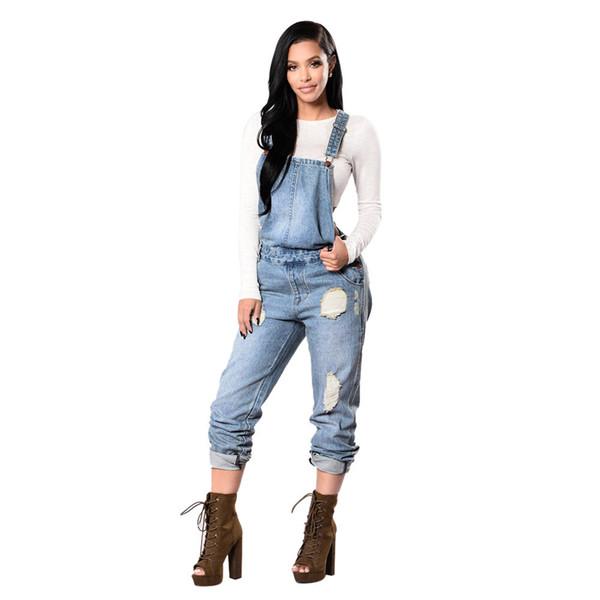 Women Jeans Women Hole Denim Bib Slim Pants Overalls Jeans Straps Demin Trousers Jumpsuit Slim Jean Pants