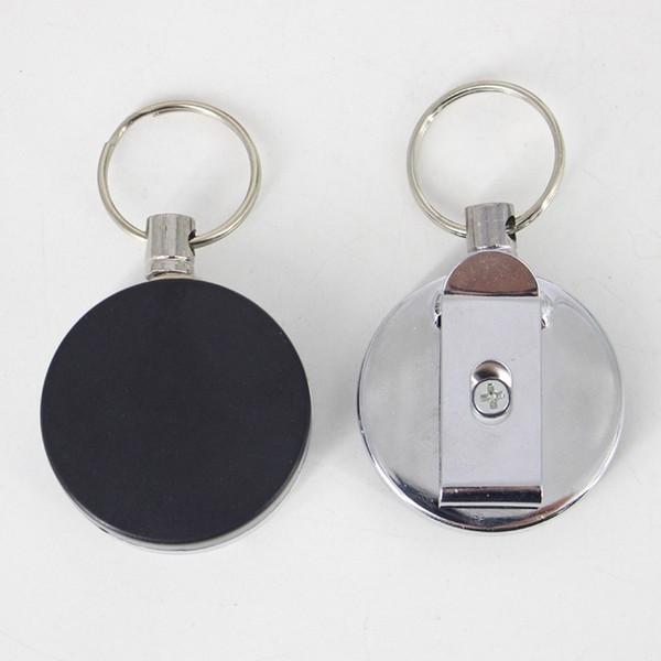 2018 جديد جودة عالية قابل للسحب المعادن بطاقة شارة حامل المقاوم للصدأ نكص حلقة حزام كليب سحب مفتاح سلسلة دروبشيبينغ