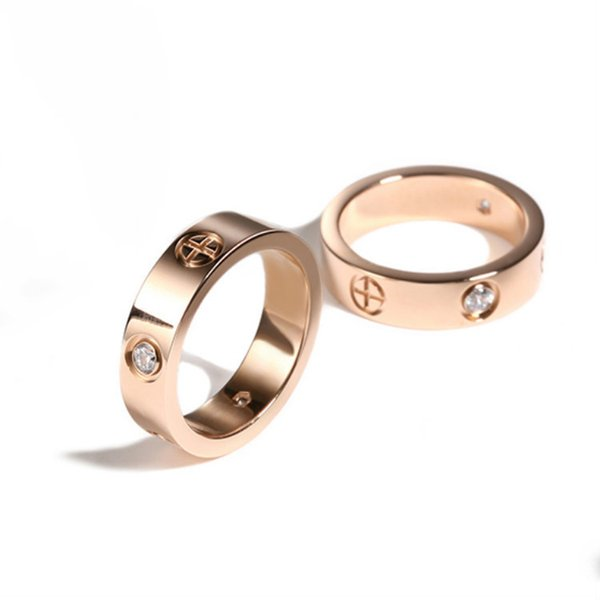 Good quality titanium steel silver rose gold love ring gold ring for lovers couple ring Wedding Rings