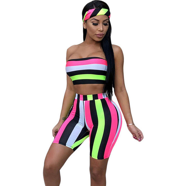 Striped Sexy Three Piece Set Women Head Scarf +Crop Tops +Bodycon Shorts Suits Boho Summer Beach Outfits 3 Piece Tracksuit