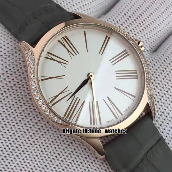 Роскошные дешевые новый продукт розовое золото случае 428.58.36.60.02.001 кварцевые женские часы Алмазный безель 36 мм белый циферблат Леди часы