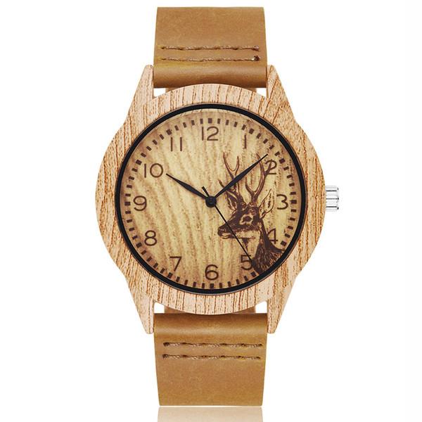 Animal Ciervo de Imitación de Madera Reloj Hombres Mujeres Pareja Reloj de pulsera Imitar Relojes de Madera Caja de Acrílico Hombre Marrón Reloj de pulsera Reloj