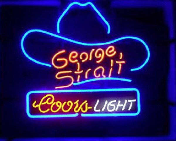 New Star Neon Sign Factory 17X14 Inches Real Glass Neon Sign Light for Beer Bar Pub Garage Room coors Light George Strait.