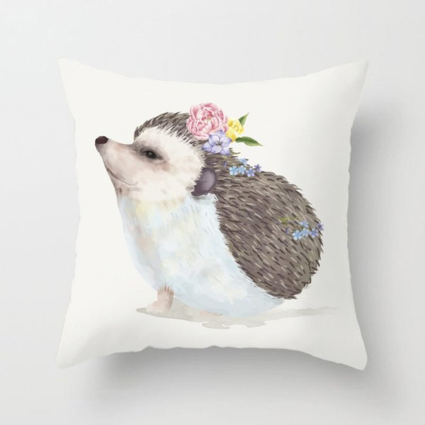 Dog Person Cat Horse Hedgehog Flower Cushion Covers Happy Mother's Day Pillow Cases 44X44cm Sofa Chair Decoration