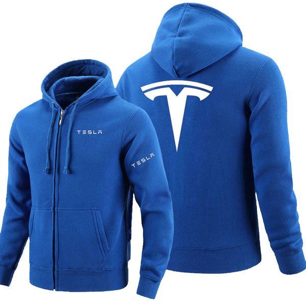 Tesla logo fermeture à glissière Sweat Hommes Zipper Hoodies Automne Sweat À Capuche Hiver Long Mode Casual VêtementsMX190830