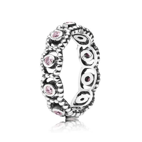 Новый 925 Sterling Silver Romance Кольцо с розовый Цирконий камень Fit Pandora ювелирных изделий Обручальное Обручальные любителей моды кольца