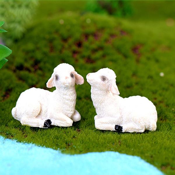 10pcs fermier chèvre Figurines Animaux Résine Artisanat Terrarium Figurines Résine Fée Jardin Miniatures bonsaï Outils jardin gnome Micro Paysage