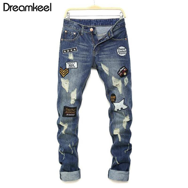 2019 new man jeans pants knees holes Patches letter printing jeans men's high quality hip hop classic fashion Plus streetwear Y