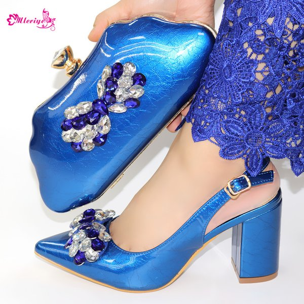 Blue Color Summer Top Quality High Heels Shoes And Bag Set Italian Style Rhinestone Shoes And Bag Set For Evening Party