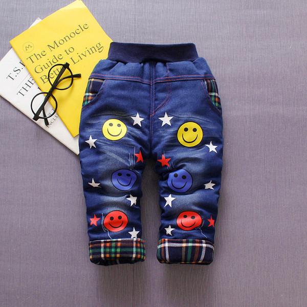 good qulaity 2019 baby boys pants winter warm thick denim pants for infant kids sport trousers toddle thick fleece velvet leggings