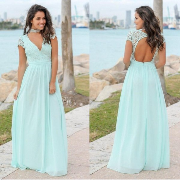 Mint Green Bridesmaid Dresses V Neck Lace Chiffon Cap Sleeves Open Back Floor Length Bridesmaid Gowns Wedding Guest Dress Party Dresses