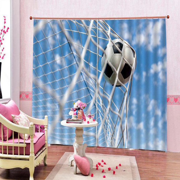 Custom 3D Window Curtain Living Room Bedroom football Curtains Blue sky Painting Blackout Curtains For home Decoration