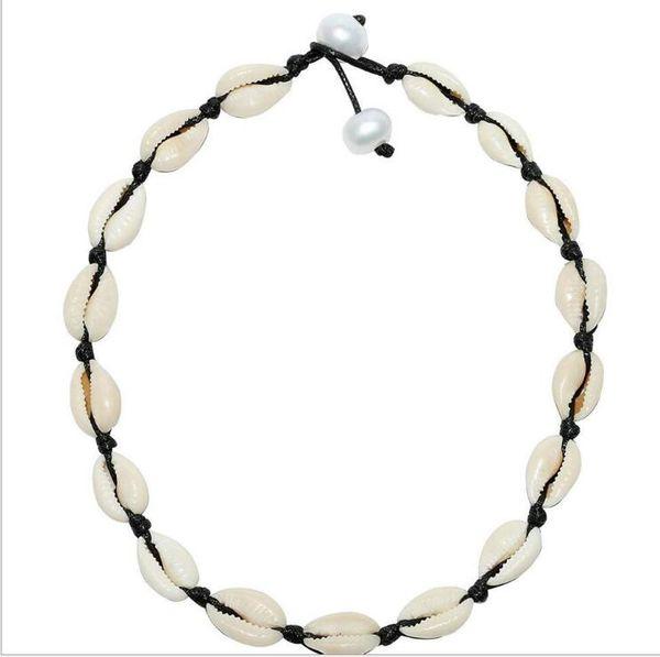 Natural Escudo Colares de Moda Europeia Handmade Nó Preto Branco Fio Picareta Gargantilha Torque Colar de Jóias para As Mulheres Venda