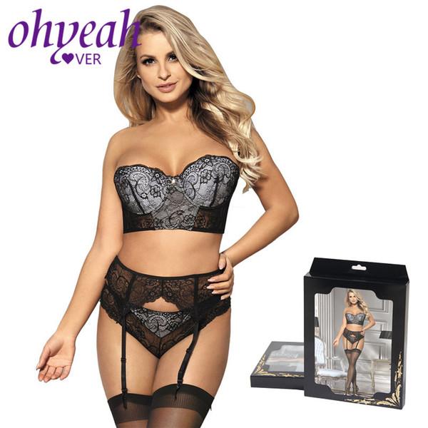 wholesale Women Lace Bra Set Underwear Stapless Bra Panty Lingerie Set Sexy Striped Intimates Sets With Garter Bra Set RM80457