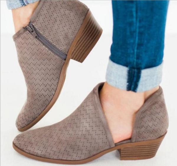 Compre Zapatos De Vestir Botines De Mujer Vintage Mujer Botines De Otoño Tacones Bajos Gruesos Bombas Niña Sapato Feminino Zapatos De Mujer Ta0175 A