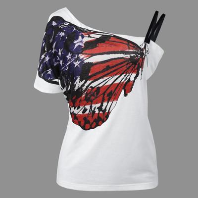 Summer Tee New Fashion Women Butterfly Prints T-shirt Short Sleeve Strapless Girl Off Shoulder T Shirt Vestidos