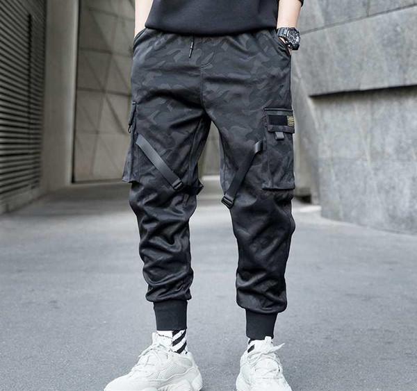 Men Ribbons Color Block Camouflage Pocket Cargo Pants 2019 Harem Joggers Harajuku Sweatpant Hip Hop Trousers